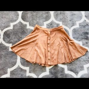 ❤️ Tan faux suede button up mini skirt S New
